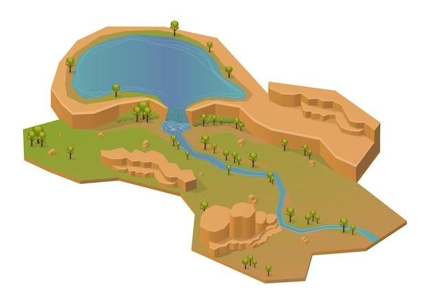 Supporto roccioso isometrico con lago e fiume. isolato su bianco