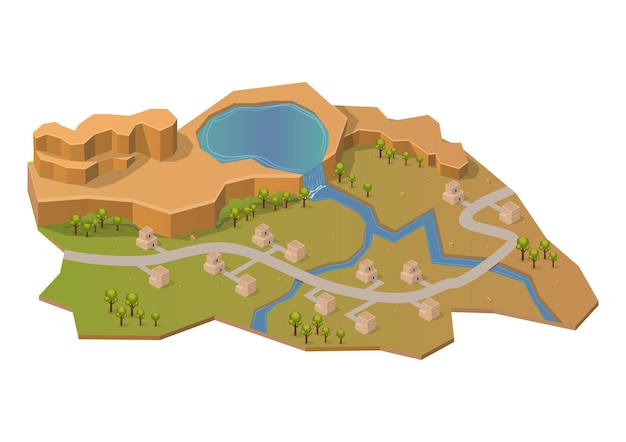 Montagna di roccia isometrica con lago, fiume e casa. isolato su bianco