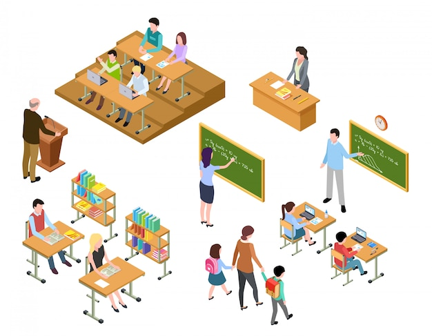 Scuola isometrica bambini e insegnante in classe e in biblioteca. persone in uniforme e studenti. istruzione scolastica 3d