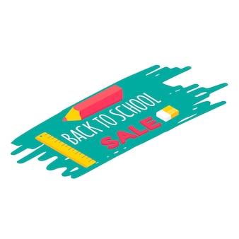 Materiale scolastico isometrico con penna, gomma e righello.