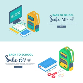 Materiale scolastico isometrico con schermo, zaino, penna, gomma, libro, quaderno e righello.