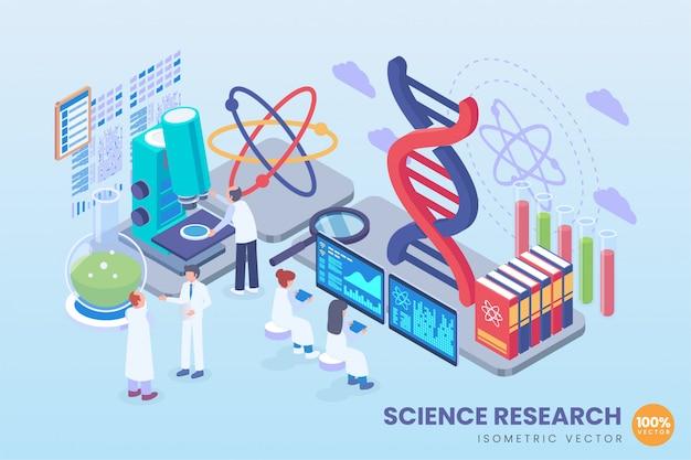 Illustrazione di ricerca scientifica isometrica