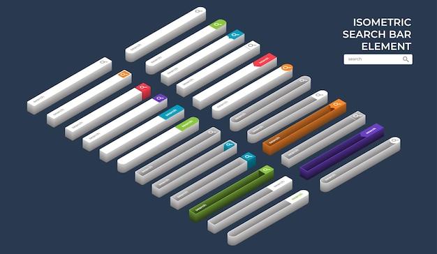 Set di modelli di design elemento vettoriale barra di ricerca isometrica