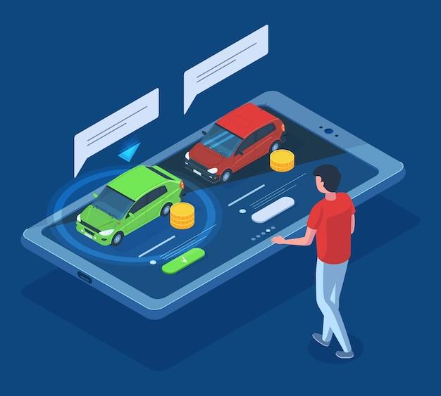 Noleggio auto berlina isometrica, acquisto, concetto di car sharing 3d. selezione di auto online, noleggio auto, vendita, set di illustrazioni vettoriali di car sharing. app autosalone online. promozione berlina auto isometrica