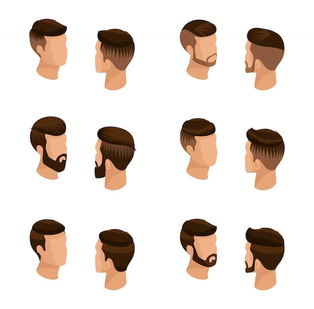 Insieme isometrico di avatar, acconciature maschili, stile hipster