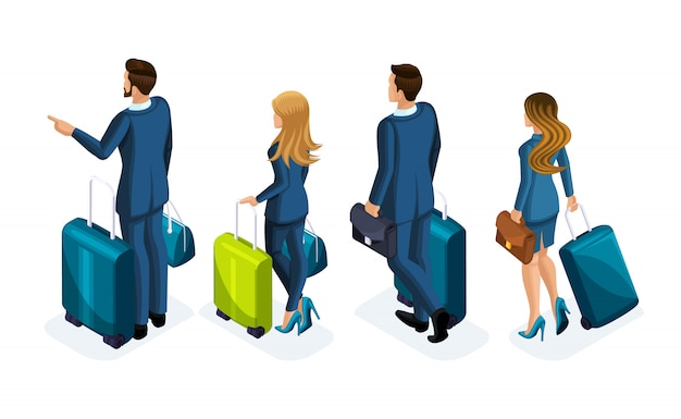 Insieme isometrico di bei uomini d'affari e donna d'affari in viaggio d'affari, con i bagagli in aeroporto, vista posteriore. uomini d'affari in viaggio, viaggio d'affari
