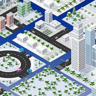 Insieme isometrico di blocchi modulo delle aree della città costruzione della città prospettica di progettazione dell'ambiente urbano.