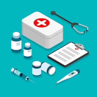 Insieme isometrico di articoli medico. medicine, targhe, una preparazione di antidolorifici, antibiotici, vitamine, vaccino. articoli medici sanitari. illustrazione.