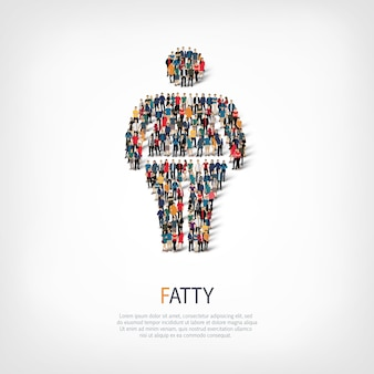 Insieme isometrico di grasso, uomo grasso, concetto di infografica web di una piazza affollata