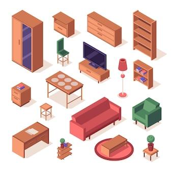 Set isometrico di mobili da soggiorno.