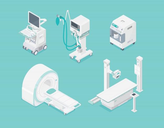 Insieme isometrico tecnologia sanitaria di apparecchiature diagnostiche ospedaliere della macchina medica isolata Vettore Premium