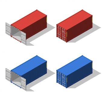 Insieme isometrico di container di spedizione aperti e chiusi.