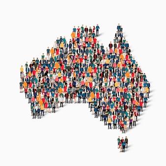 Insieme isometrico di persone che formano la mappa dell'australia
