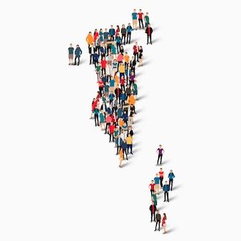 Insieme isometrico di persone che formano la mappa del bahrain