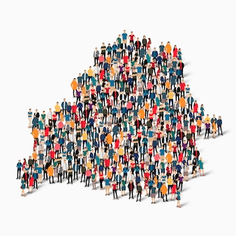 Insieme isometrico di persone che formano la mappa della bielorussia