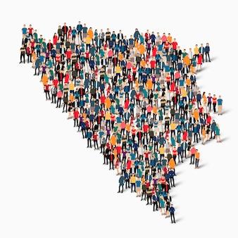 Insieme isometrico di persone che formano la mappa della bosnia ed erzegovina