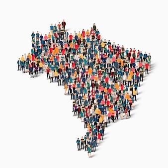 Insieme isometrico di persone che formano la mappa del brasile
