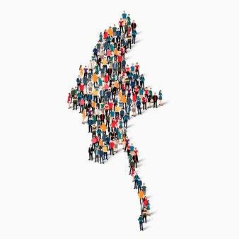 Insieme isometrico di persone che formano la mappa della birmania