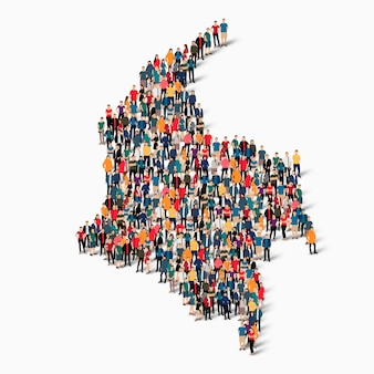 Insieme isometrico di persone che formano la mappa della colombia