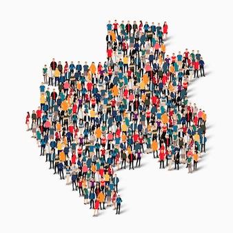 Insieme isometrico di persone che formano la mappa del gabon