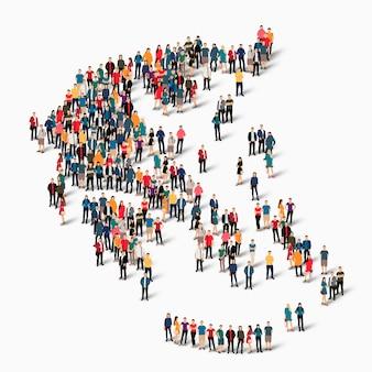 Insieme isometrico di persone che formano la mappa della grecia