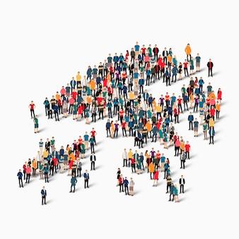 Insieme isometrico di persone che formano la mappa di hong kong