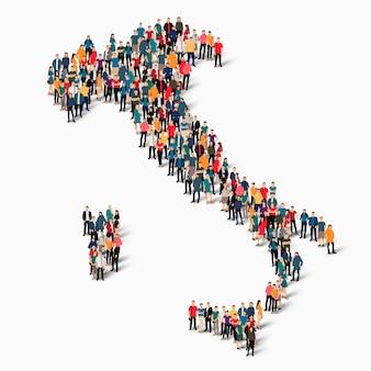 Insieme isometrico di persone che formano la mappa dell'italia