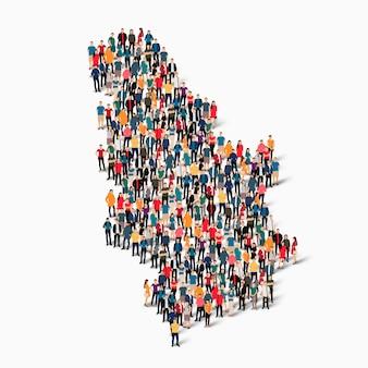Insieme isometrico di persone che formano la mappa della serbia