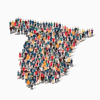Insieme isometrico di persone che formano la mappa della spagna