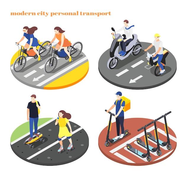 Insieme isometrico di persone che utilizzano il ciclo motore di trasporto personale bici scooter skateboard isolato