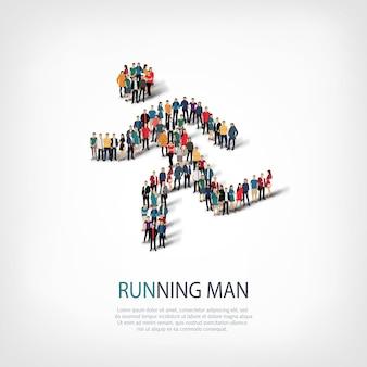 Insieme isometrico di uomo che corre, sport, concetto di infografica web di una piazza affollata