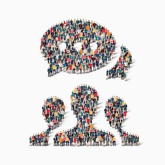 Insieme isometrico di stili astratti, comunicazione, chat di bolle, concetto di infografica web simbolo di una piazza affollata
