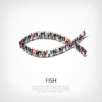 Insieme isometrico di stili astratti, pesce, concetto di infografica web di una piazza affollata