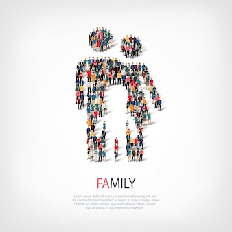 Insieme isometrico di stili simbolo astratto un concetto di infografica web familiare di una piazza affollata