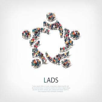 Insieme isometrico di stili, ragazzi, illustrazione di concetto di infographics di web di una piazza affollata. gruppo di punti folla che forma una forma predeterminata. persone creative.