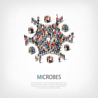 Insieme isometrico di stili, microbi, illustrazione di concetto di infographics di web di una piazza affollata. gruppo di punti folla che forma una forma predeterminata.