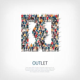 Insieme isometrico di stili, outlet, illustrazione di concetto di infographics di web di una piazza affollata. gruppo di punti folla che forma una forma predeterminata.