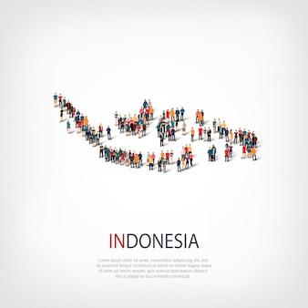 Insieme isometrico di stili, persone, mappa dell'indonesia, paese, concetto di infografica web di spazio affollato. gruppo di punti folla che forma una forma predeterminata. persone creative.