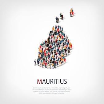 Insieme isometrico di stili, persone, mappa di mauritius, paese, concetto di infografica web di spazio affollato. gruppo di punti folla che forma una forma predeterminata. persone creative.