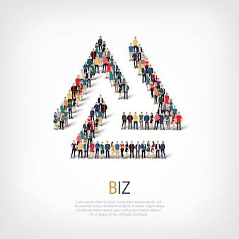 Insieme isometrico di stili, illustrazione di concetto di infographics di web di una piazza affollata. gruppo di punti folla che forma una forma predeterminata. persone creative.