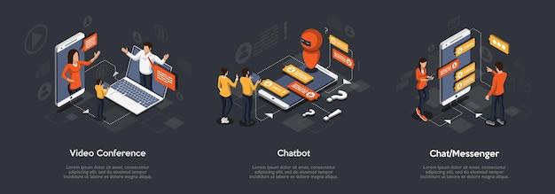 Insieme isometrico di videoconferenza, chatbot e chat messenger. illustrazione isometrica 3d del marketing digitale.