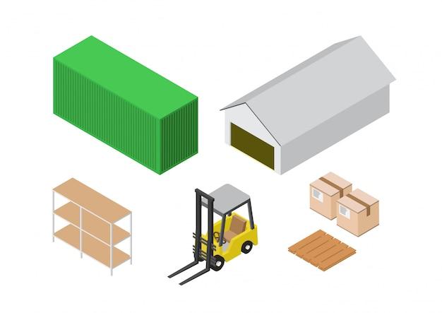 Insieme isometrico del processo di magazzino