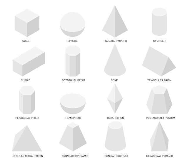 Forme isometriche oggetti geometrici isolati bianchi modelli matematici per la scuola che studiano disegno astratto Vettore Premium