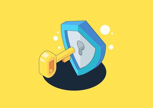 Scudo isometrico e protezione dei dati privati. autenticazione e concetto di protezione. illustrazione isometrica creativa.