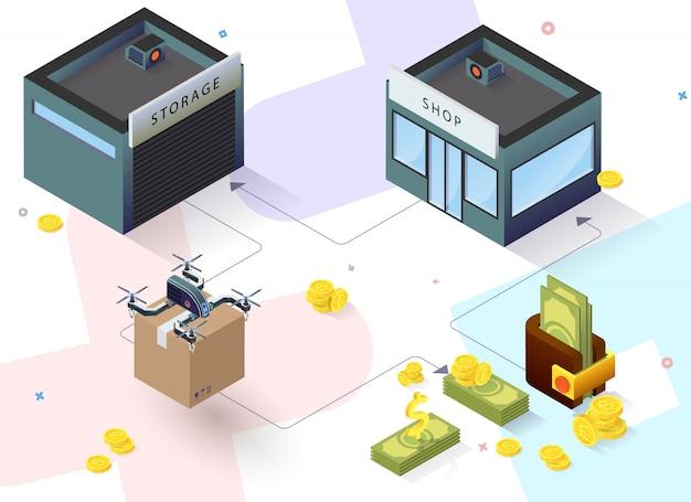 Edificio isometrico con consegna di droni e denaro
