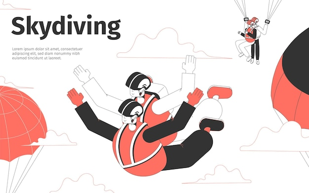 Illustrazione isometrica di paracadutismo