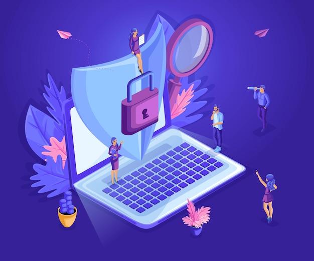 Piccola gente isometrica che lavora con un computer portatile, proteggendo le informazioni dal furto