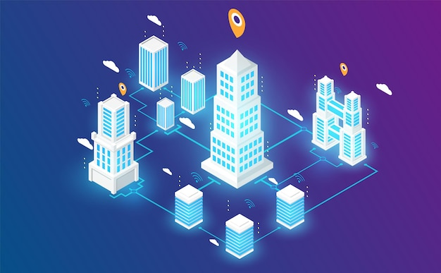 Isometrica smart city connectin lanescape futuristico concetto illustrazione