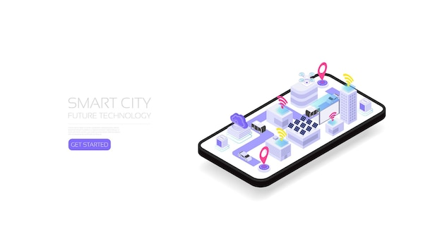 Città intelligente isometrica, tecnologia del futuro per una vita intelligente