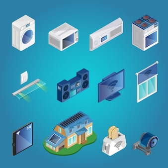 Set di elementi isometrici smart home